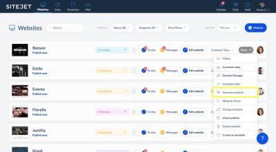 Use Sitejet's website generator to speed up design