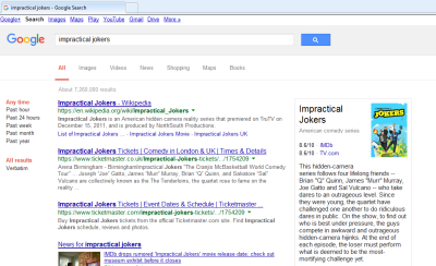 Screenshot of Google search results for Impractical Jokers