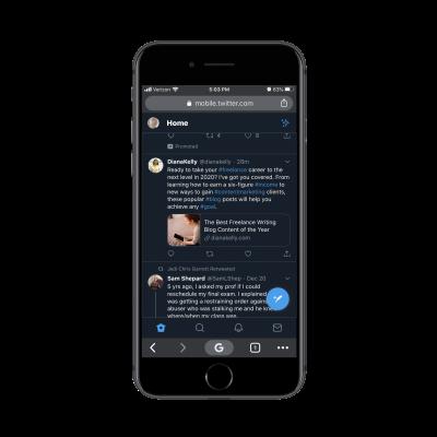 Twitter sticky bottom navigation bar