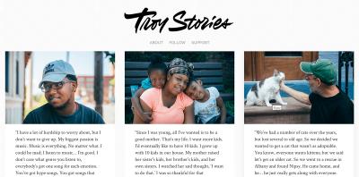 Screenshot of the Troy Stories website homepage