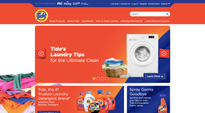 Tide homepage with photo of freshly cleaned and folded laundry besides washer
