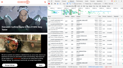 Screenshot of devtools alongside homepage