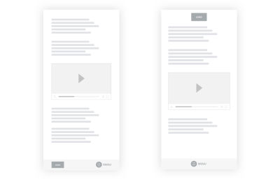 A wireframe of reimagined primary and secondary navigation items.