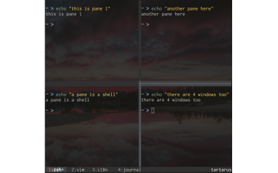 Tmux with 4 windows and 4 panes
