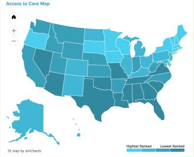 Access to Care Map, from Mental Health America
