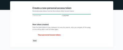 Screenshot showing the token value