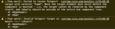 error message in console when you teleport to an invalid element