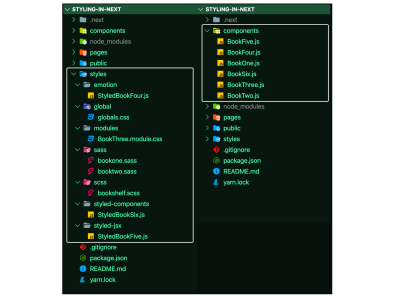 A screenshot of the initial changes made to the demo repository styles and components directory