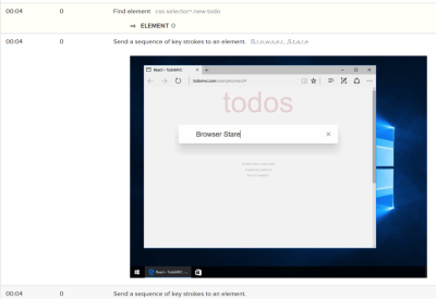 A screenshot of the visual log feature of a test run on BrowserStack's Automate service