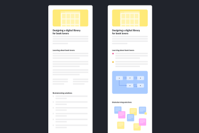 Two wireframes of design portfolio case studies. The one on the left has no visuals and the one on the right has visuals