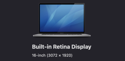 Built-in retina display showing 16-inch with 3072 times 1920 pixels