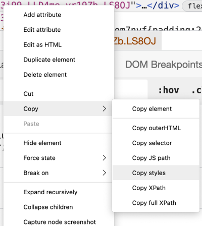 Preview of the menu described for selecting Copy styles