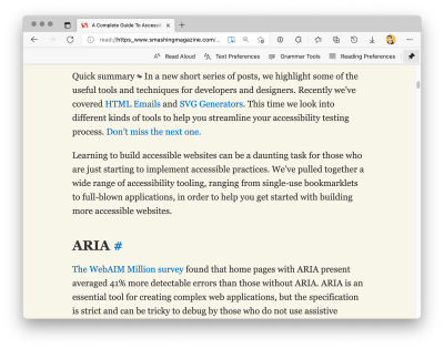 Microsoft Edge's Immersive Reader mode being applied to the Smashing Magazine post, A Complete Guide To Accessibility Tooling by Nic Chan. Screenshot.