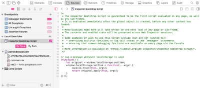 Screenshot of Safari's Sources tab, showing the Bootstrap Script with code that overrides localStore.setItem to log information when this API is called.