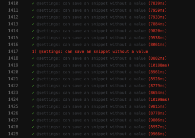 A screenshot from a CI execution with a flaky test
