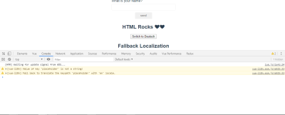 Formatting page with fallback warning in devtools console.