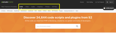 Envato Market pages for Code, Video, Audio, Graphics, Photos and 3D Files