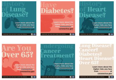 Unedited teal blue, salmon pink, and blush colored public service announcements created by the CDC and the Ad Council which have color contrast issues