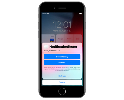iPhone 8 Plus shown with Manage selected from notification which brings up the Deliver Quietly and Turn Off options.