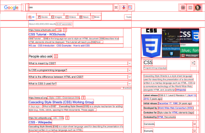 Google search results for 'css' with a red outline added to every element revealing the structure of element boxes that make up the page.