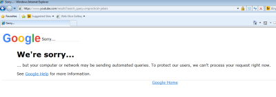 """Screenshot of Google """"Sorry, your computer may be sending automated queries. We can't process your request"""""""