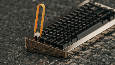 A keyboard by RAMA made from a single piece of solid brass