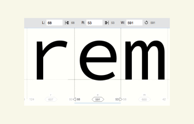 A software screengrab of FontLab VI's Manual Metrics Editing panel. Shows the lowercase letter e with a black line to the left and right. And 3 changeable values below.
