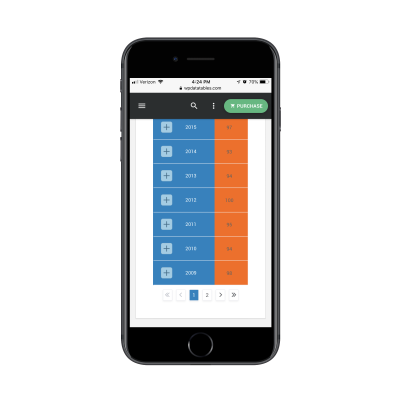 Responsive table pagination