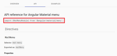 API reference for Angular Material Components