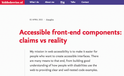 Accessible front-end components: claims vs reality