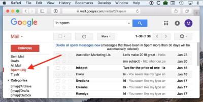 The Gmail spam folder