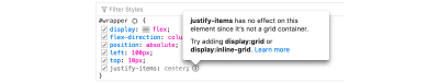 An example of an inactive CSS tooltip warning
