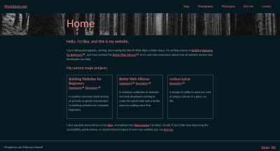 Web page with text and image as background for title.