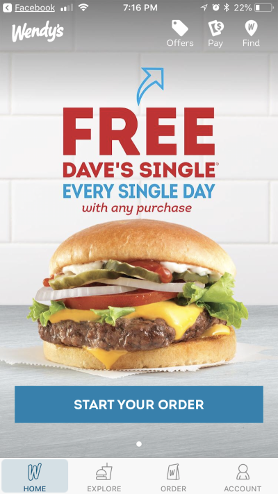 Offers from Wendy's app