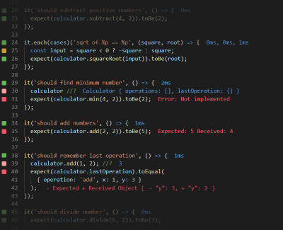 A screenshot of Wallaby.js, an intelligent test runner for JavaScript that continuously runs your tests