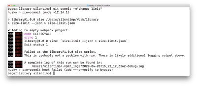 A screenshot of the terminal where the commit is aborted because the size of the file exceeds the limit