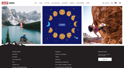 CLIF homepage with promotional images in nature