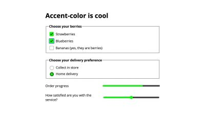 Form with checkboxes, radio buttons, progress bar and range input, with lime accent color applied.