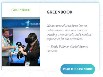Emily Fullmer, Director of Global Events for Greenbook said, We are now able to focus less on tedious operations, and more on creating a memorable and seamless experience for our attendees.