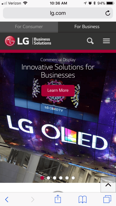 Small solid button on LG's mobile website.