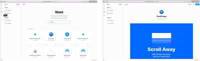 Framer store where you can search the Scroll Away component.