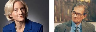 Image of Martha Nussbaum (left) and Amartya Sen (right)