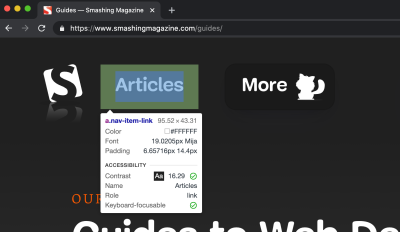 The Inspect Element tooltip appearing for an inspected anchor element. The tooltip shows various element properties, such as font, color, contrast ratio, and others