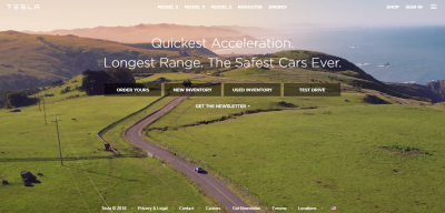 Tesla uses a principle 'show, don't tell' when demonstrating the benefits of using cars.