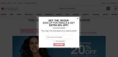 Example of Macy's modal pop-up on desktop