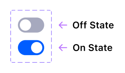 Two switch components inside the variant group, one turned on and the other one turned off.