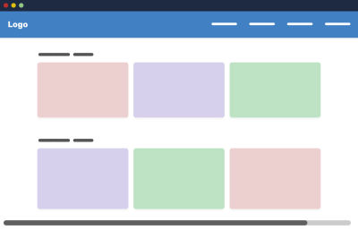 A wireframe example of a website with six boxes showing as placeholders for text or images