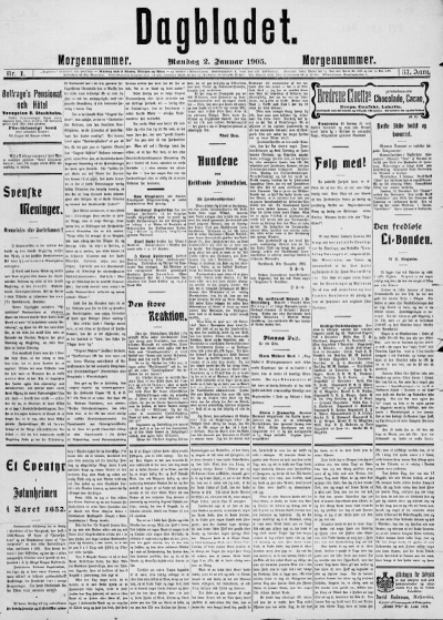 Front page of Dagbladet newspaper