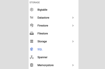 This image shows a sub-section of GCP services
