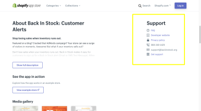 The Oberlo Shopify app provides support in the form of FAQ, developer website, privacy policy and direct support link